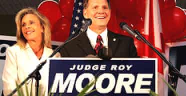 Roy Moore and his wife Kayla at a 2006 rally during his campaign to become state governor