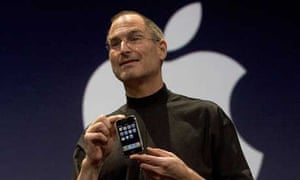 Apple boss Steve Jobs with the iPhone