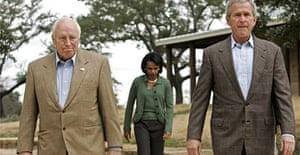 George Bush, right, with Dick Cheney and Condoleezza Rice