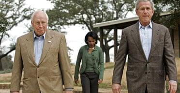 George Bush, right, with Dick Cheney and Condoleezza Rice