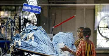 Workers in a clothing factory in Dhaka, Bangladesh