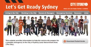Sydney city council's new website gives advice about responding to terror attacks and natural disasters, including the suggestion that residents prepare an emergency 'Go Bag'
