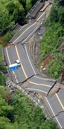 A road destroyed by the earthquake in Nagaoka