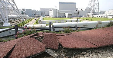 Earthquake damage outside Japan's Kashiwazaki-Kariwa nuclear power plant, the largest facility of its kind in the world