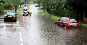 Torrential downpours hit Carshalton, outside London