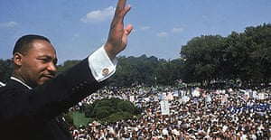 Martin Luther King Jr acknowledges the crowd after his 'I have a dream' speech on the steps of the Lincoln Memorial in Washington DC, in August 1963.