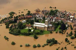 Tewkesbury in Gloucestershire after the July floods 2007