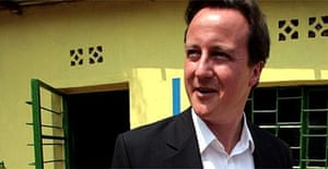 David Cameron during a visit to an orphanage in Kigali