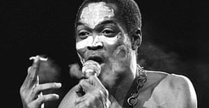 Fela Kuti, king of afro-beat, seen here during a concert in Paris in 1986