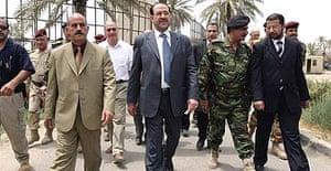 Iraq's prime minister, Nuri al-Maliki, on a visit to Diyala province's government headquarters, in central Baquba.
