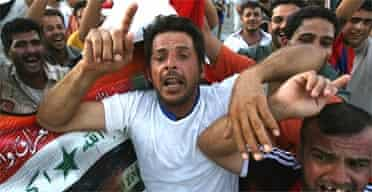 Raucous celebrations on the streets of Baghdad after the Iraq football team won the Asian Cup