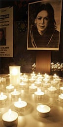A candle light vigil for Susanne Osthoff, a German archaeologist who was kidnapped in Iraq in November 2005. She was released in December 2005