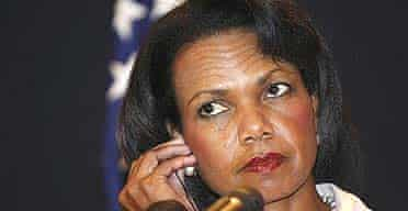 US secretary of state Condoleezza Rice at a press conference following her meeting with selected Arab foreign ministers in the Red Sea resort of Sharm el-Sheikh, Egypt.