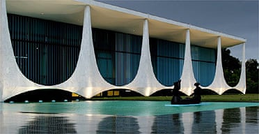 The Brazilian Palacio da Alvorada (Palace of the Dawn), which was designed by architect Oscar Niemeyer
