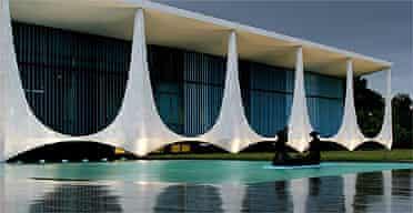 The Brazilian Palacio da Alvorada (Palace of the Dawn), which was designed by architect Oscar Niemeyer