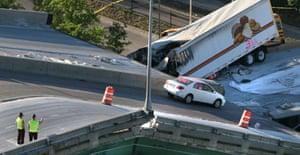 The collapsed bridge in Minneapolis, Minnesota
