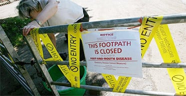 The gate for a public right of way near a farm in Surrey that was affected by foot and mouth