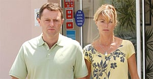 Gerry and Kate McCann leave a hotel on route to an interview with television crews in Praia da Luz, Algarve, Portugal