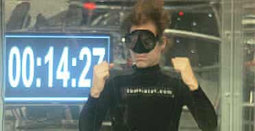 Tom Sietas celebrates breaking his own Guinness world record for holding his breath under water