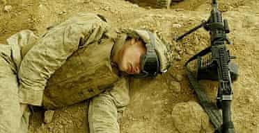 US marines asleep at their base in Falluja, Iraq