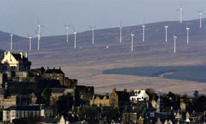 Wind farms in in Stirling, Scotland. Photograph: Jeff J Mitchell/Getty
