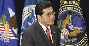 US attorney general Alberto Gonzales at the J Edgar Hoover FBI building in Washington.