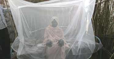 Hadija Sahik poses under a mosquito net donated to her by the German Red Cross in the village of El Moriib, in Sudan's Nuba mountains