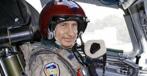 Vladimir Putin in a Russian bomber cockpit