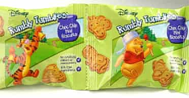 Winnie the Pooh characters on a packet of biscuits