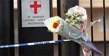 Floral tributes to Philip Lawrence