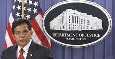 Attorney general Alberto Gonzales announces his resignation at the department of justice in Washington.