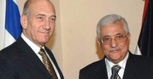 The Israeli prime minister, Ehud Olmert, meets the Palestinian president, Mahmoud Abbas
