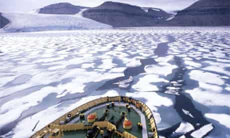 A Russian icebreaker pushes through the North-West Passage. Photograph: Mark Peterson/Corbis file