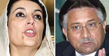The former Pakistani prime minister Benazir Bhutto (l), and the country's president, General Pervez Musharraf