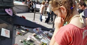 Notes and flowers placed in tribute to Diana in Paris