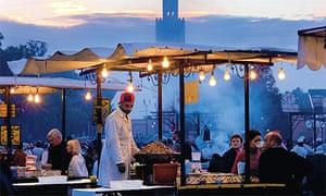 Food stalls in Jema el-Fna square in Marrakech, Morocco