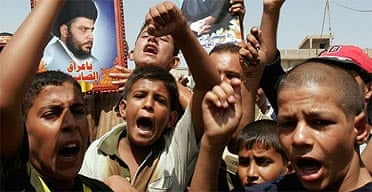 Young followers of Moqtada al-Sadr at a rally in Baghdad