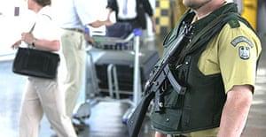 A German police officer patrols at Frankfurt airport