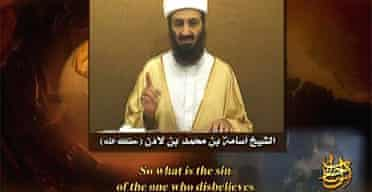 A frame grab from the undated video of Osama bin Laden