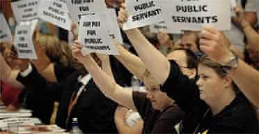 Public sector workers protest as Gordon Brown addresses the TUC annual congress
