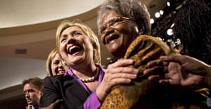 Hillary Clinton greets supporters before a speech in Washington DC