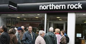 Northern Rock customers queuing