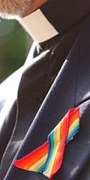 An Anglican clergyman wears a rainbow ribbon in support of gays and lesbians in the church
