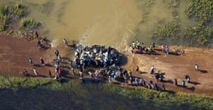 An aerial view of a truck stuck in the floods at Akelai, in the Soroti district, on the main road from Soroti to Amuria, in Uganda.