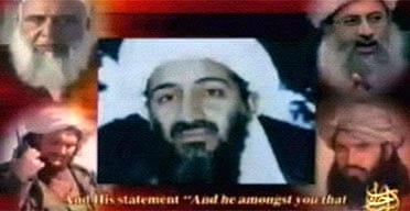 A screen grab from a video shown on an Islamist militant website where al-Qaida's media arm, Al-Sahab, frequently posts messages, shows a still image of Osama bin Laden