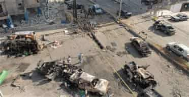 The scene of a car bomb attack in Beirut, Lebanon