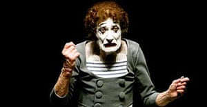 French mime Marcel Marceau performs during a show in Lima, 2004.