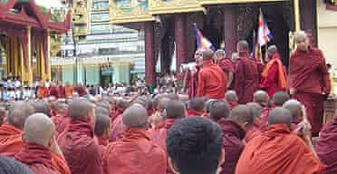 Buddhist monks gather to protest in Rangoon