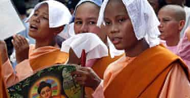 Buddhist nuns join the protest against Burma's ruling junta on the streets of Rangoon