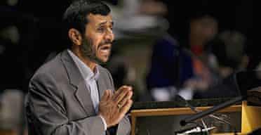 The Iranian president, Mahmoud Ahmadinejad, at the UN general assembly